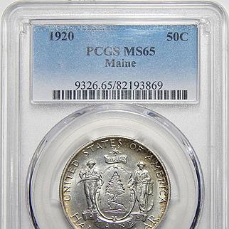 1920 Pcgs MS65 Maine Half Dollar