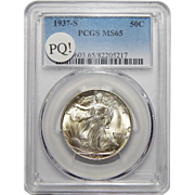 1937-S Pcgs PQ! MS65 Walking Liberty Half Dollar