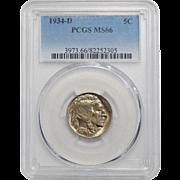 1934-D Pcgs MS66 Buffalo Nickel
