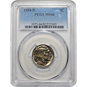 1934-D Pcgs MS66 Buffalo Nickel