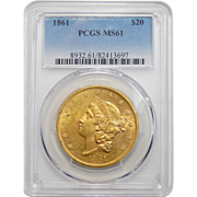 1861 Pcgs MS61 $20 Liberty Head Gold
