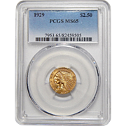 1929 Pcgs $2.50 MS65 Indian Gold