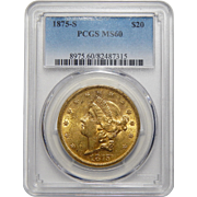 1875-S Pcgs MS60 $20 Liberty Head Gold