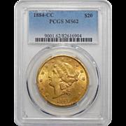 1884-CC Pcgs MS62 $20 Liberty Head Gold