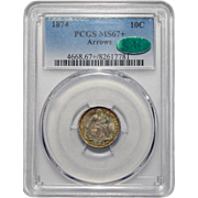 1874 Pcgs/Cac MS67+ Arrows Liberty Seated Dime