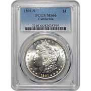 1891-S Pcgs MS66 California Morgan Dollar