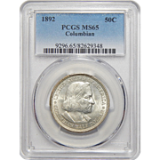 1892 Pcgs MS65 Columbian Half Dollar