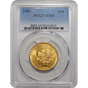 1926 Pcgs MS65 $10 Indian Gold