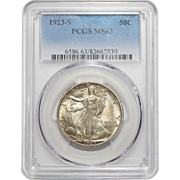 1923-S Pcgs MS63 Walking Liberty Half Dollar