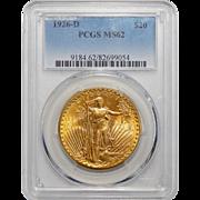 1926-D Pcgs MS62 $20 St Gaudens