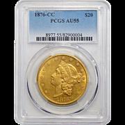 1876-CC Pcgs AU55 $20 Liberty Head Gold
