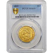 1812 Pcgs MS64+$5 Capped Bust Gold