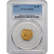 1912 Pcgs MS65 $2.50 Indian Gold