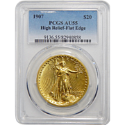 1907 Pcgs AU55 $20 High Relief-Flat Edge St Gaudens