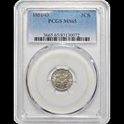 1851-O Pcgs MS65 Three Cent Silver
