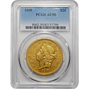 1850 Pcgs AU50 $20 Liberty Head Gold