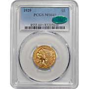 1929 Pcgs/Cac MS64+ $5 Indian Gold