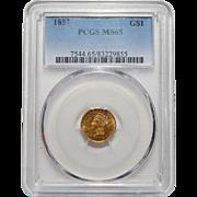 1857 Pcgs MS65 $1 Gold
