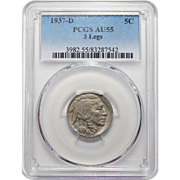 1937-D Pcgs AU55  3-Legs Buffalo Nickel