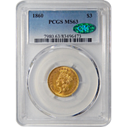 1860 Pcgs/Cac MS63 $3 Gold