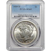 1926-D Pcgs MS65 Peace Dollar