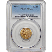 1915 Pcgs MS63 $2.50 Indian Gold
