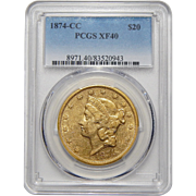 1874-CC Pcgs XF40 $20 Liberty Head Gold