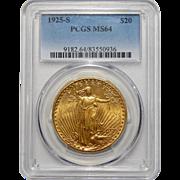 1925-S Pcgs MS64 $20 St. Gaudens