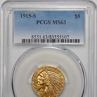 1915-S Pcgs MS63 $5 Indian Head Gold