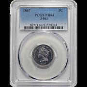 1867 Pcgs PR64 J-561 Nickel Pattern