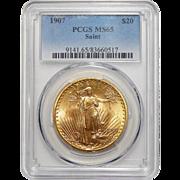 1907 Pcgs MS65 $20 Saint Gaudens