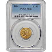 1914 Pcgs MS61 $2.50 Indian Gold