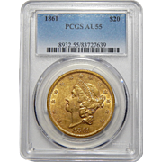 1861 Pcgs AU55 $20 Liberty Head Gold