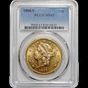 1888-S Pcgs MS61 $20 Liberty Head Gold