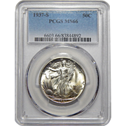 1937-S Pcgs MS66 Walking Liberty Half Dollar