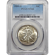1936-D Pcgs MS66 Walking Liberty Half Dollar