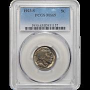 1923-S Pcgs MS65 Buffalo Nickel