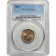 1862 Pcgs MS66 Indian Cent