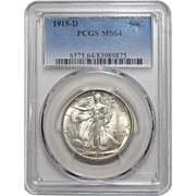 1918-D Pcgs MS64 Walking Liberty Half Dollar