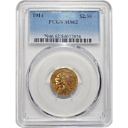 1914 Pcgs MS62 $2.50 Indian Gold
