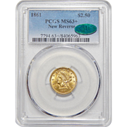 1861 Pcgs/Cac MS63+ $2.50 New Reverse Liberty Head Gold