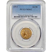 1912 Pcgs MS62 $2.50 Indian Gold