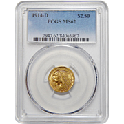 1914-D Pcgs MS62 $2.50 Indian Gold