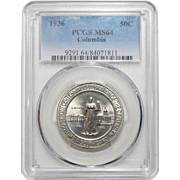 1936 Pgcs MS64 Columbia Half Dollar