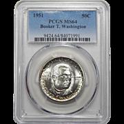1951 Pcgs MS64 Booker T. Washington Half Dollar