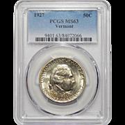 1927 Pcgs MS63 Vermont Half Dollar