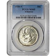 1936-S Pcgs MS65 Arkansas Half Dollar