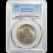 1936 Pcgs MS64 Rhode Island Half Dollar