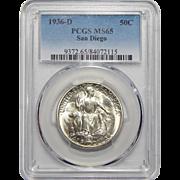 1936-D Pcgs MS65 San Diego Half Dollar