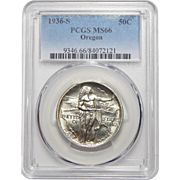 1936-S Pcgs MS66 Oregon Half Dollar